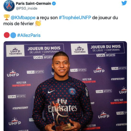 Cầu thủ hay nhất tháng 8 của Ligue 1 là Mbappe